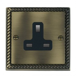 Hamilton Cheriton Georgian Antique Brass 1 Gang 13A Unswitched Socket with Black Insert