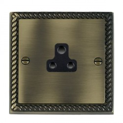 Hamilton Cheriton Georgian Antique Brass 1 Gang 2A Unswitched Socket with Black Insert
