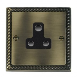 Hamilton Cheriton Georgian Antique Brass 1 Gang 5A Unswitched Socket with Black Insert