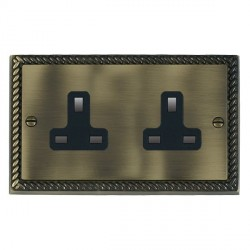 Hamilton Cheriton Georgian Antique Brass 2 Gang 13A Unswitched Socket with Black Insert