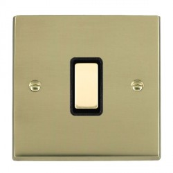 Hamilton Cheriton Victorian Polished Brass 1 Gang Multi way Touch Master Trailing Edge with Black Insert