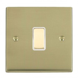 Hamilton Cheriton Victorian Polished Brass 1 Gang Multi way Touch Slave Trailing Edge with White Insert