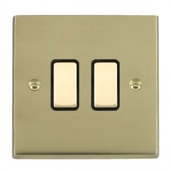 Hamilton Cheriton Victorian Polished Brass 2 Gang Multi way Touch Master Trailing Edge with Black Insert