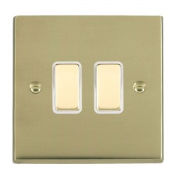 Hamilton Cheriton Victorian Polished Brass 2 Gang Multi way Touch Master Trailing Edge with White Insert
