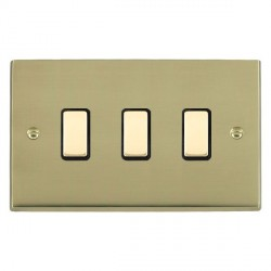 Hamilton Cheriton Victorian Polished Brass 3 Gang Multi way Touch Slave Trailing Edge with Black Insert