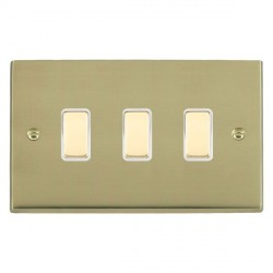 Hamilton Cheriton Victorian Polished Brass 3 Gang Multi way Touch Slave Trailing Edge with White Insert