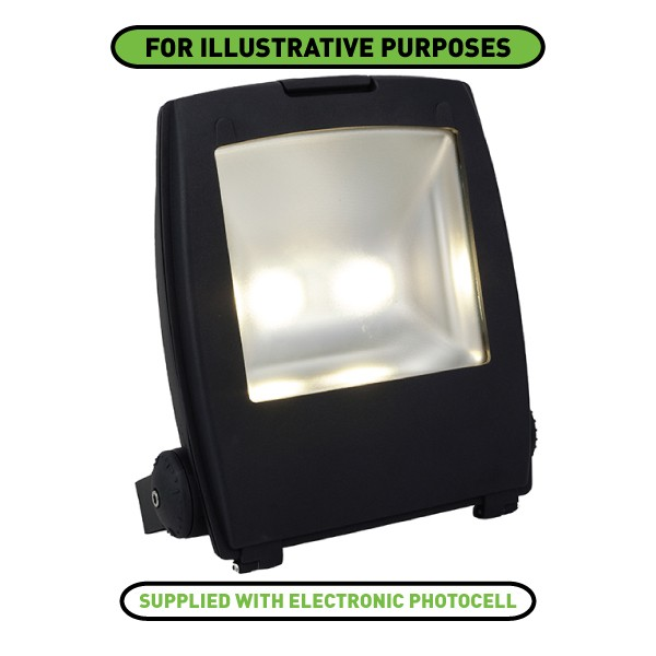 ansell mira 100w cool white led floodlight with photocell. Black Bedroom Furniture Sets. Home Design Ideas