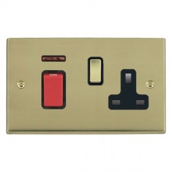 Hamilton Cheriton Victorian Polished Brass 1 Gang Double Pole 45A Red Rocker + 13A Switched Socket with Black Insert