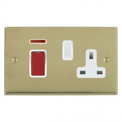Hamilton Cheriton Victorian Polished Brass 1 Gang Double Pole 45A Red Rocker + 13A Switched Socket with White Insert