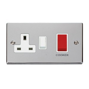 Click Deco Victorian Polished Chrome 45A Double Pole Switch and 13A Switched Socket with White Insert