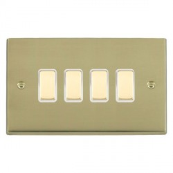 Hamilton Cheriton Victorian Polished Brass 4 Gang Multi way Touch Master Trailing Edge with White Insert