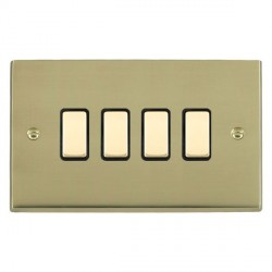 Hamilton Cheriton Victorian Polished Brass 4 Gang Multi way Touch Slave Trailing Edge with Black Insert