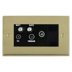 Hamilton Cheriton Victorian Polished Brass TV+FM+SAT+SAT (DAB Compatible)+TV+TCS (DAB Compatible) with Black Insert