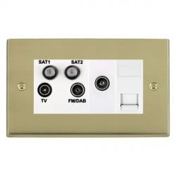 Hamilton Cheriton Victorian Polished Brass TV+FM+SAT+SAT (DAB Compatible)+TV+TCS (DAB Compatible) with White Insert