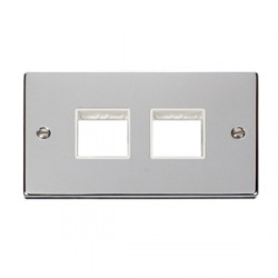 Click Deco Victorian Polished Chrome 2 Gang Plate (2 x 2) Aperture with White Insert