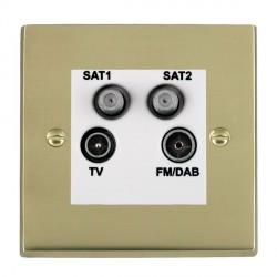 Hamilton Cheriton Victorian Polished Brass TV+FM+SAT+SAT (DAB Compatible) with White Insert