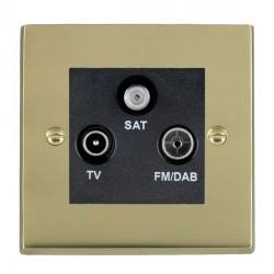 Hamilton Cheriton Victorian Polished Brass TV+FM+SAT (DAB Compatible) with Black Insert