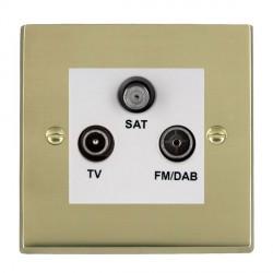 Hamilton Cheriton Victorian Polished Brass TV+FM+SAT (DAB Compatible) with White Insert