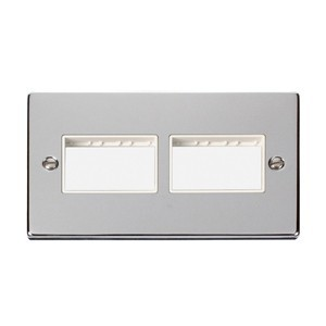 Click Deco Victorian Polished Chrome 2 Gang Plate (3 x 3) Aperture with White Insert