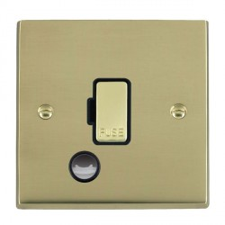 Hamilton Cheriton Victorian Polished Brass 1 Gang 13A Fuse + Cable Outlet with Black Insert