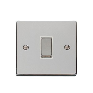 Click Deco Victorian Polished Chrome 1 Gang 2 Way Ingot 10AX Switch with White Insert