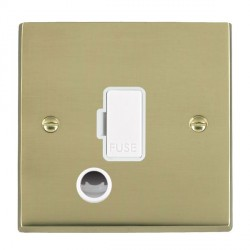 Hamilton Cheriton Victorian Polished Brass 1 Gang 13A Fuse + Cable Outlet with White Insert