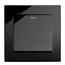 Retrotouch Crystal Black Plain Glass 1 Gang 2 Way Mechanical Light Switch