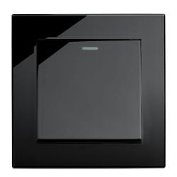 Retrotouch Crystal Black Plain Glass 1 Gang 2 Way Mechanical Light Switch