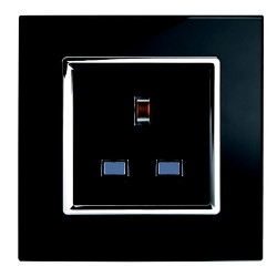 Retrotouch Crystal Black Chrome Trim 13A Single Unswitched Socket