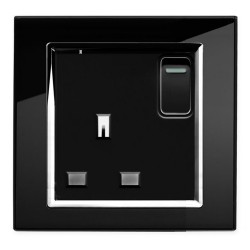 Retrotouch Crystal Black Chrome Trim 13A Single Switched Socket