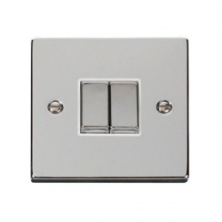 Click Deco Victorian Polished Chrome 2 Gang 2 Way Ingot 10AX Switch with White Insert