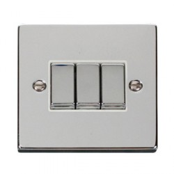 Click Deco Victorian Polished Chrome 3 Gang 2 Way Ingot 10AX Switch with WhiteInsert