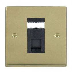 Hamilton Cheriton Victorian Polished Brass 1 Gang RJ12 Outlet Unshielded with Black Insert