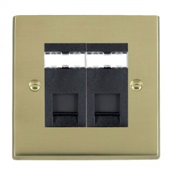 Hamilton Cheriton Victorian Polished Brass 2 Gang RJ45 Outlet Cat 5e Unshielded with Black Insert