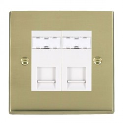 Hamilton Cheriton Victorian Polished Brass 2 Gang RJ45 Outlet Cat 5e Unshielded with White Insert