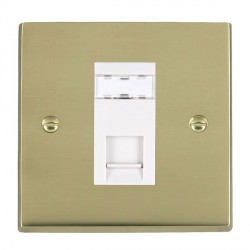 Hamilton Cheriton Victorian Polished Brass 1 Gang RJ45 Outlet Cat 5e Unshielded with White Insert