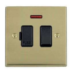 Hamilton Cheriton Victorian Polished Brass 1 Gang 13A Fused Spur, Double Pole + Neon with Black Insert