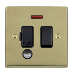 Hamilton Cheriton Victorian Polished Brass 1 Gang 13A Fused Spur, Double Pole + Neon + Cable Outlet with Black Insert