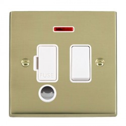 Hamilton Cheriton Victorian Polished Brass 1 Gang 13A Fused Spur, Double Pole + Neon + Cable Outlet with White Insert