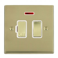 Hamilton Cheriton Victorian Polished Brass 1 Gang 13A Fused Spur, Double Pole + Neon with White Insert