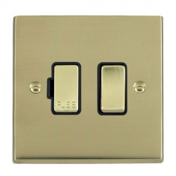 Hamilton Cheriton Victorian Polished Brass 1 Gang 13A Fused Spur, Double Pole with Black Insert