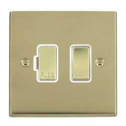 Hamilton Cheriton Victorian Polished Brass 1 Gang 13A Fused Spur, Double Pole with White Insert