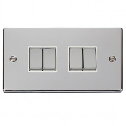 Click Deco Victorian Polished Chrome 4 Gang 2 Way Ingot 10AX Switch with White Insert
