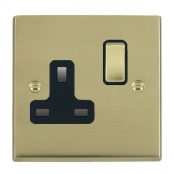 Hamilton Cheriton Victorian Polished Brass 1 Gang 13A Switched Socket - Double Pole with Black Insert