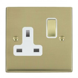 Hamilton Cheriton Victorian Polished Brass 1 Gang 13A Switched Socket - Double Pole with White Insert