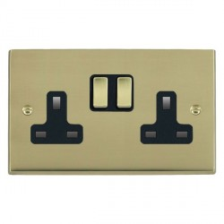 Hamilton Cheriton Victorian Polished Brass 2 Gang 13A Switched Socket - Double Pole with Black Insert