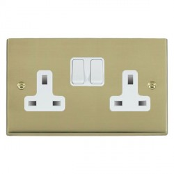 Hamilton Cheriton Victorian Polished Brass 2 Gang 13A Switched Socket - Double Pole with White Insert