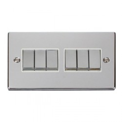 Click Deco Victorian Polished Chrome 6 Gang 2 Way Ingot 10AX Switch with White Insert