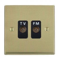Hamilton Cheriton Victorian Polished Brass 2 Gang Isolated Television/FM 1in/2out with Black Insert