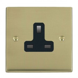 Hamilton Cheriton Victorian Polished Brass 1 Gang 13A Unswitched Socket with Black Insert